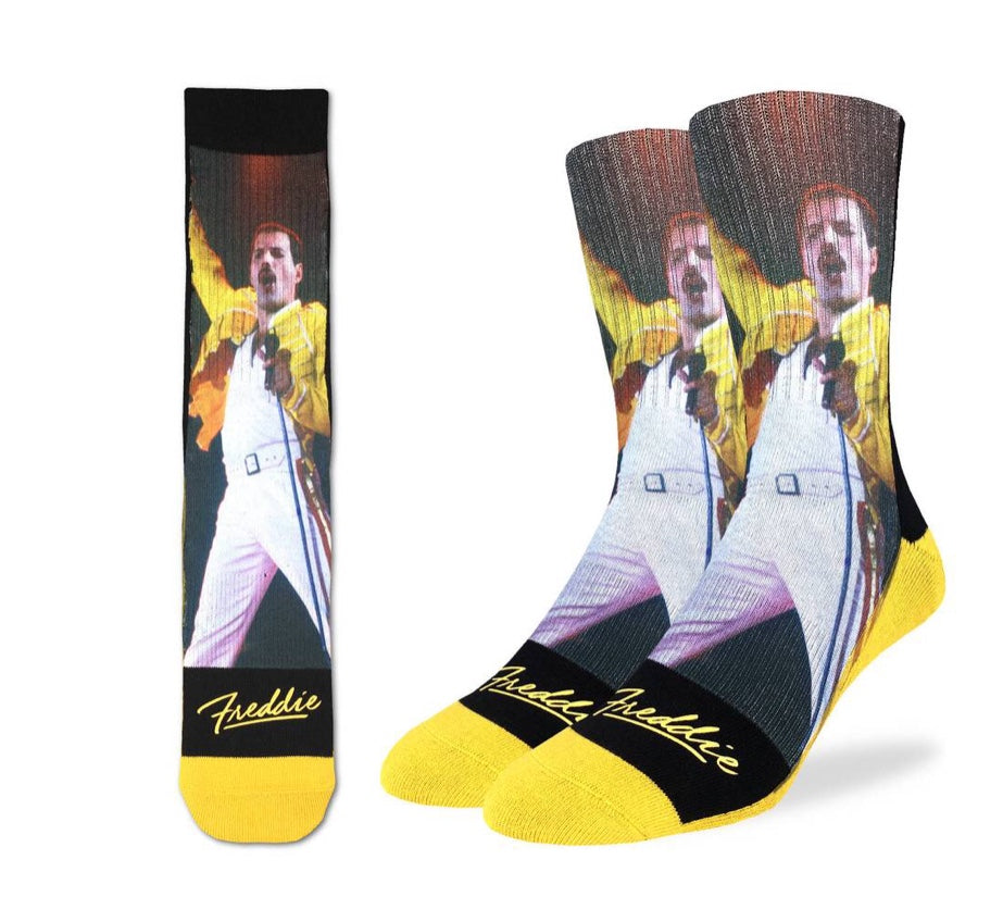 .Canadian Designed   Official Licensed Merchandise Freddie Mercury at Wembley Queen.  Vibrant Yellow  Freddie performs at Wembley and you will always be there when you wear these Freddie socks. Great compression and seamless.  Shop deservesjfa.com for best pricing on socks