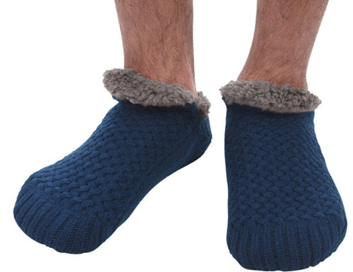 Men's Basket weave Sherpa lined Navy sock/slipper
