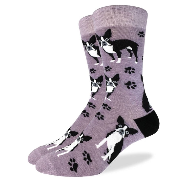 King Size Purple Boston Terrier Sock