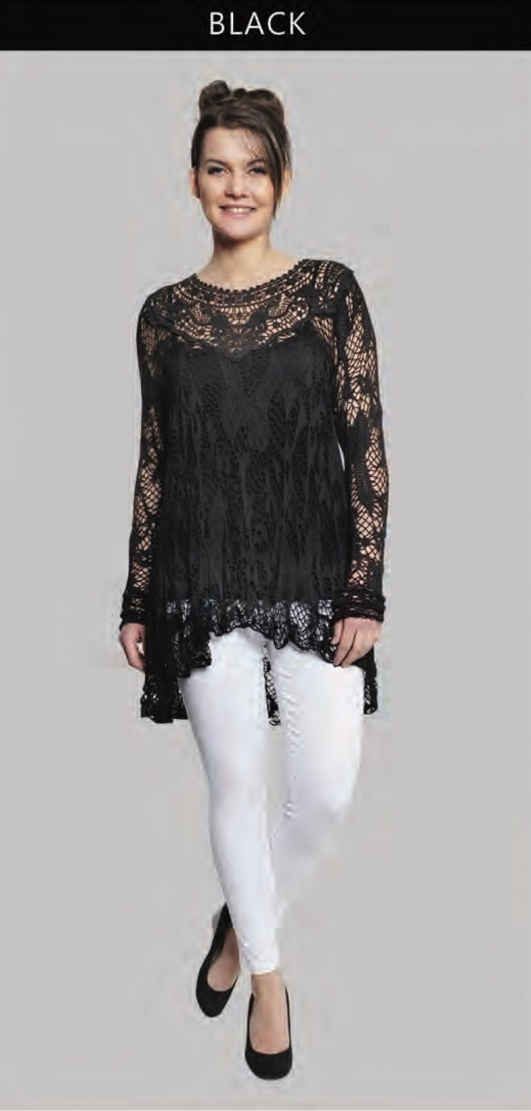 Floral Detail Crochet Long Sleeve Top Deserve Sterling Jewelry And