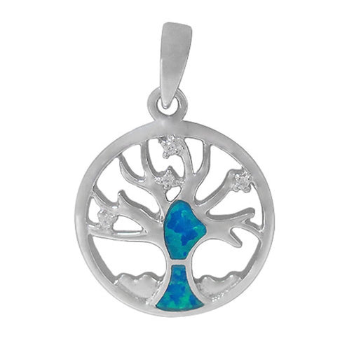 Tree of life Silver and Opal Pendant