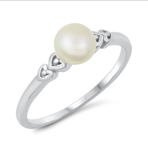 Fresh water pearl Heart detail Silver  Ring