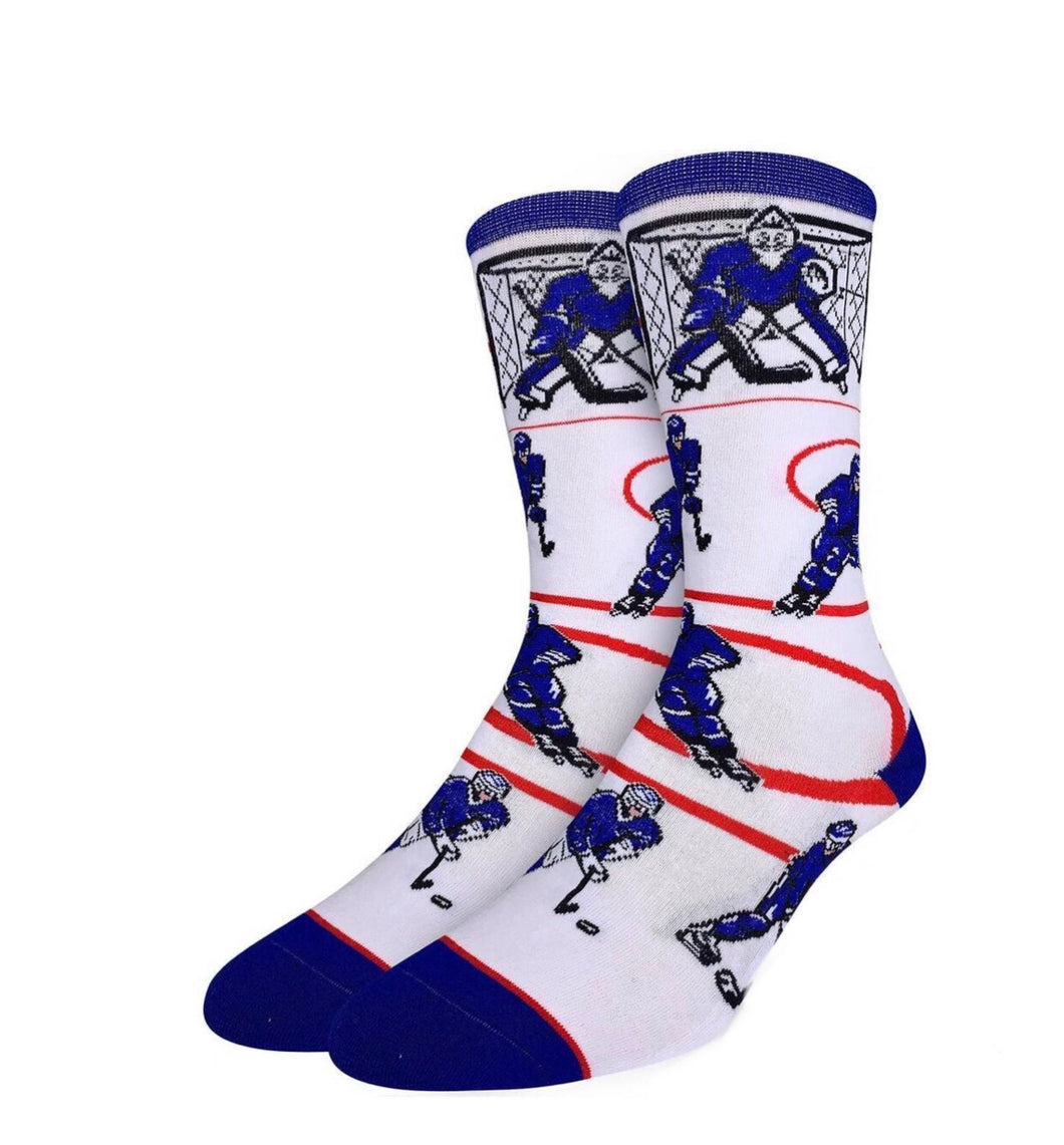 Men's Hockey Blue White Socks