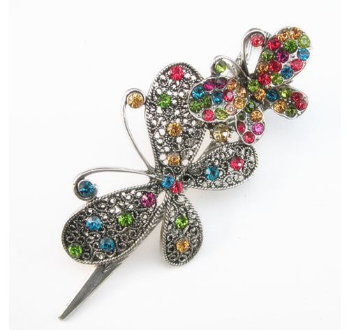 Cluster stone double Butterfly Clip