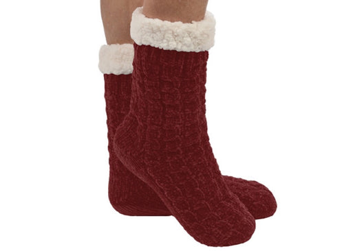Chenille Cable Sherpa Lined Women's Dark Red Sock/Slipper