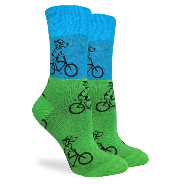 Men's Blue & Green Dog Riding Bicycle Fun Socks