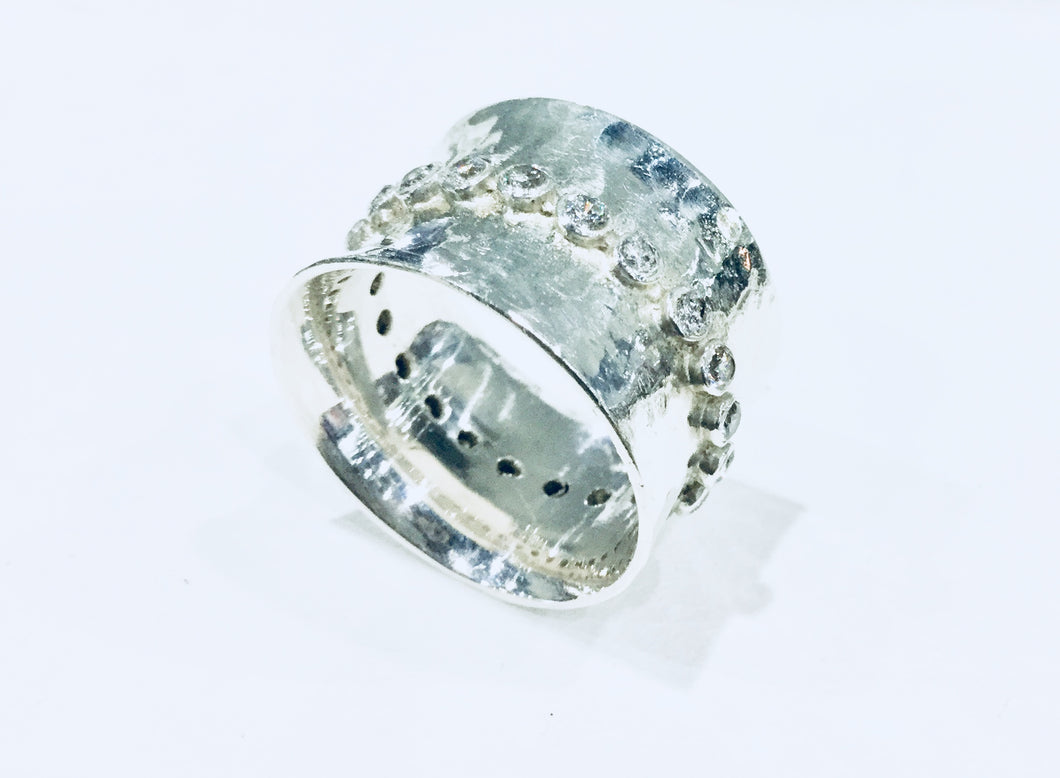 Clear Crystal Studded Sterling Silver Cigar Band Ring
