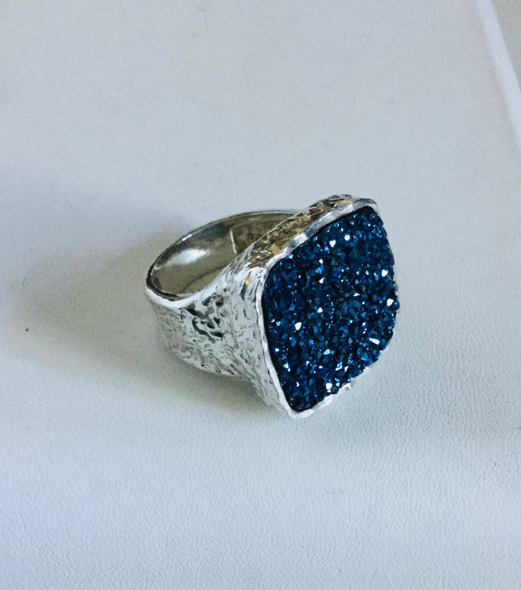 Blue Druzy sterling silver Ring