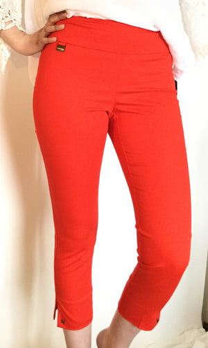 Fiery Red Crop Ankle  Pant/Side Slits and Studs