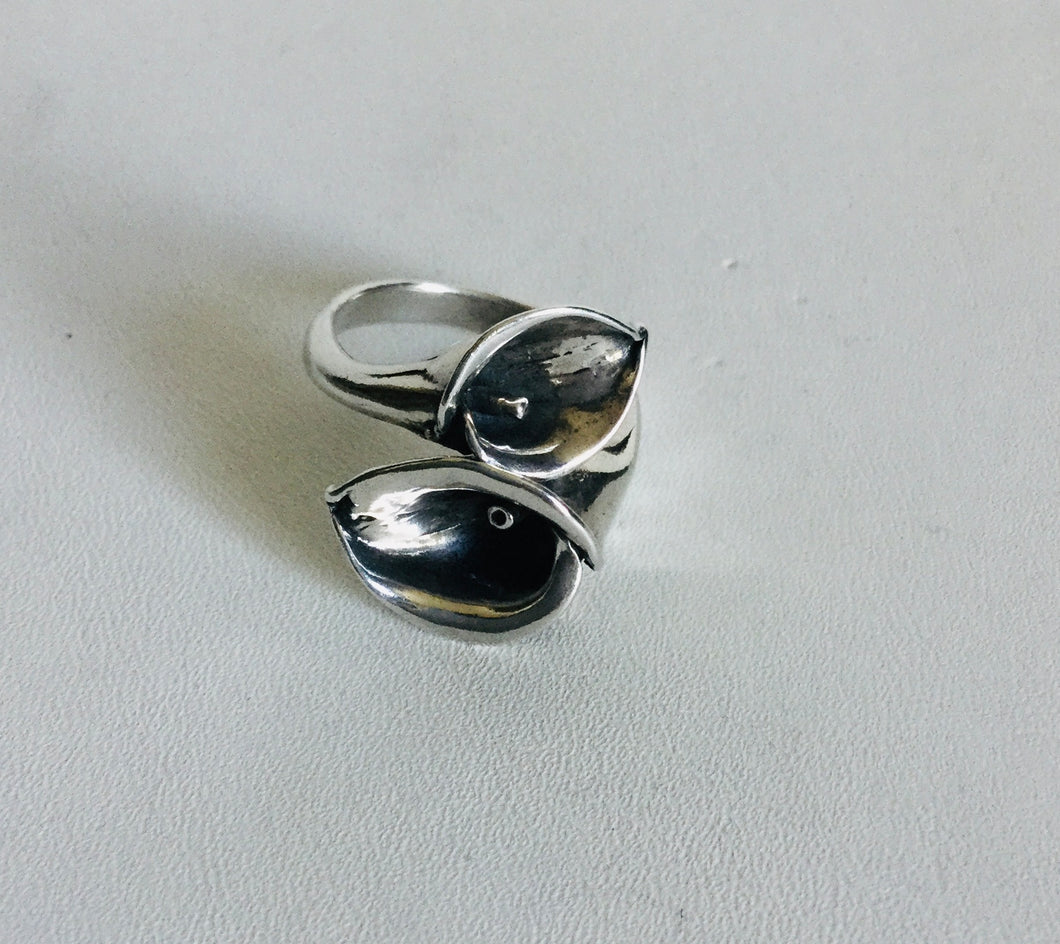 Sterling silver double Calla lily Silver Ring