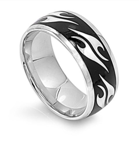 Men's Stainless Steel Flame design.