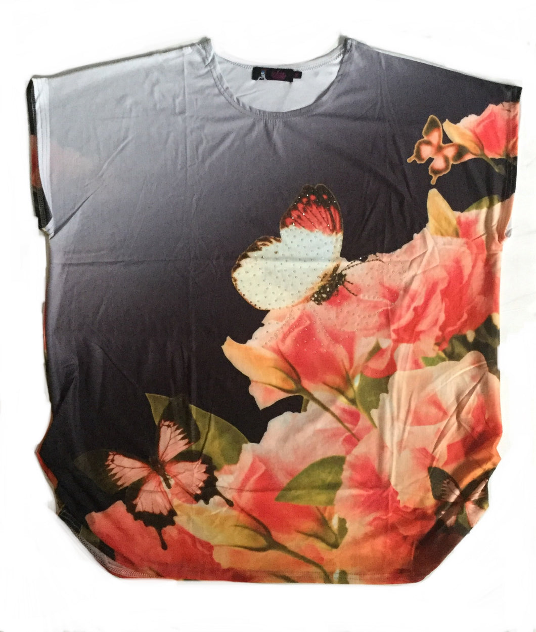 Black Orange Butterfly w Flowers FunTop