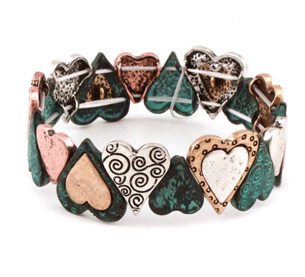 Multi-Color Heart Bracelet