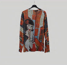 Multi colour print Lady long sleeve Top