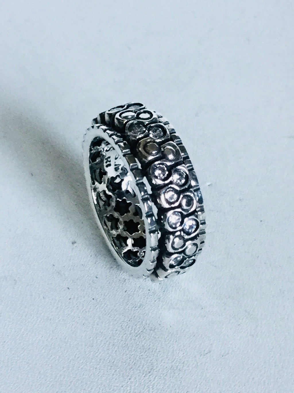 Sterling silver round cut cubic zirconia Spinner Ring