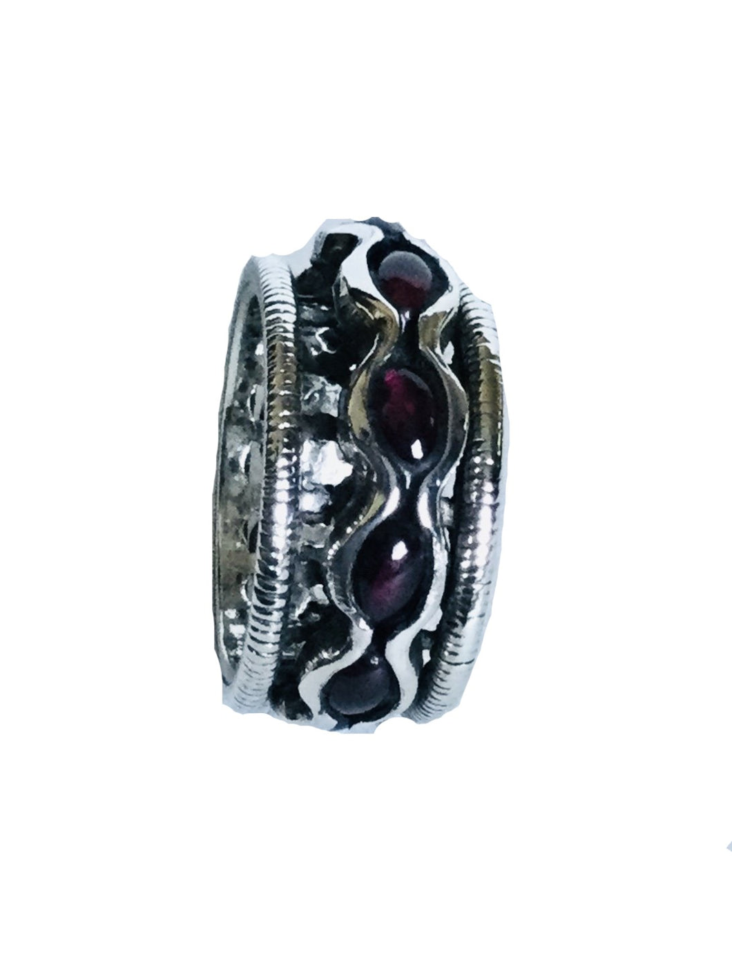 Sterling silver wave Garnet spinner ring