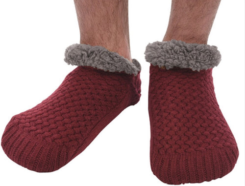 Men's Basket weave Sherpa Lined Burgundy Sock/slippers