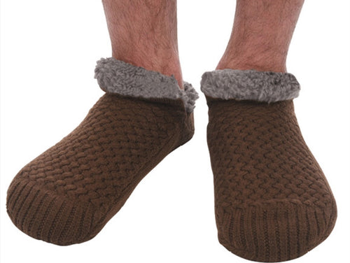 Men's Basket weave Sherpa lined Socks Java/ Brown