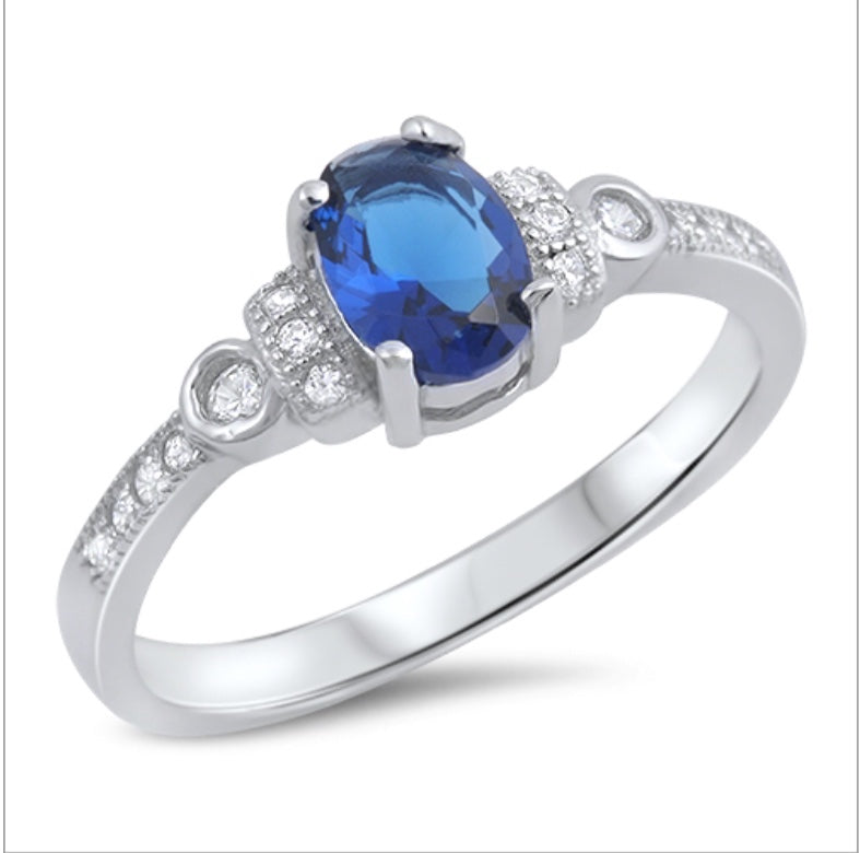 Cushion cut Cz Sapphire and channel set clear Cz