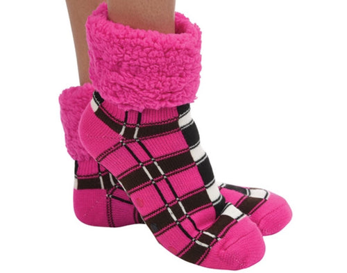 Women's Plaid Cuffed Sherpa Lined Hot Pink Slipper/Sock