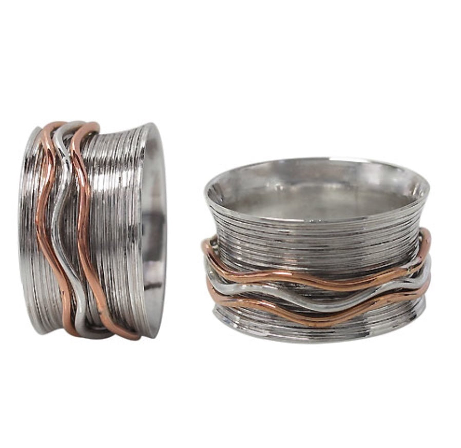 925 Sterling And Brass Wave Spinner Ring