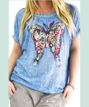Short Sleeve Butterfly Sequence Top