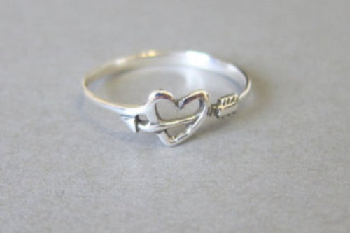 Heart and Arrow Silver Ring