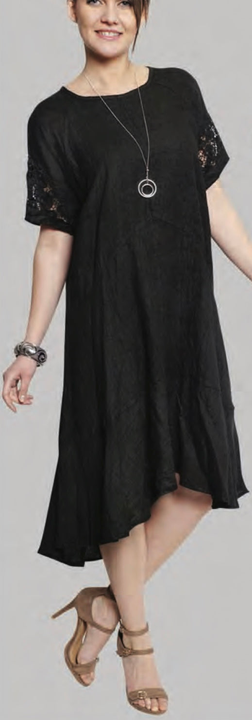 Black Linen Full Length Dress Sequence Short Sleeve