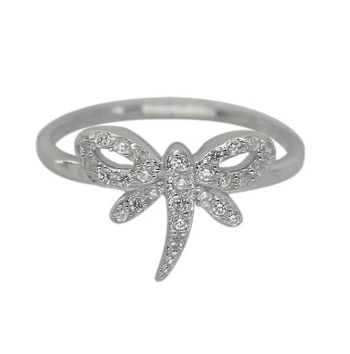 Cubic zirconia Dragonfly Sterling Silver Ring