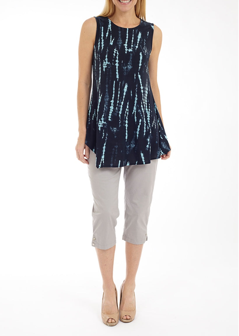 Sleeveless Tunic with Asymmetrical Hem