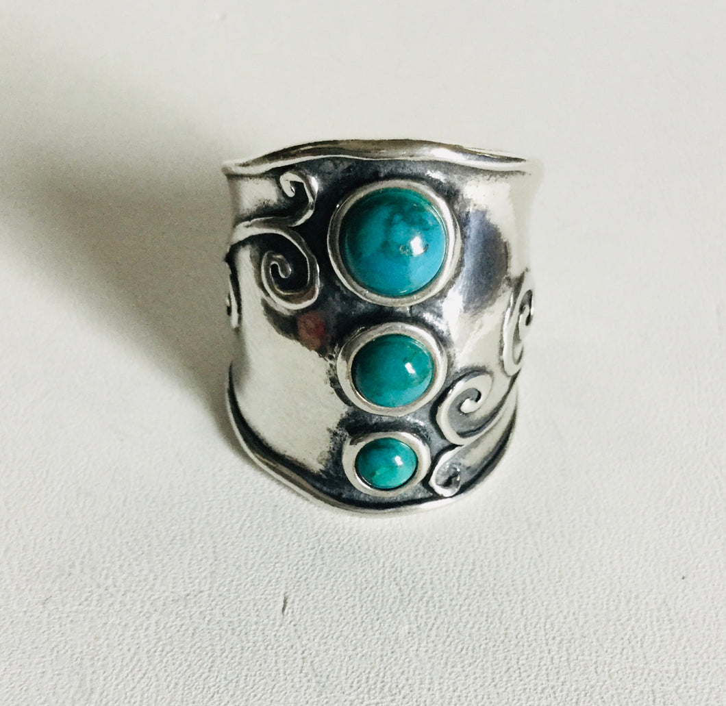 Sterling silver Triple Stone Turquoise Shield Ring