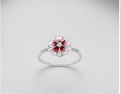 925 Sterling Silver Flower/Enamel Ring