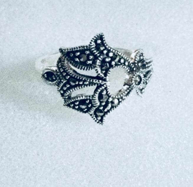 Lotus flower Marcasite Silver Ring