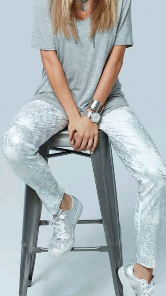 Silver and white Techo Up pants