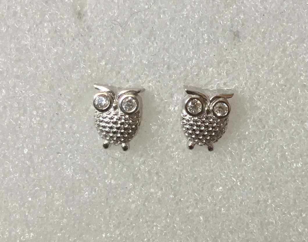 Owls studs with clear CZ eyes