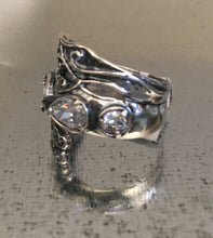 Wrapped Silver Ring 3 Clear CZ stones