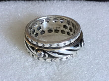 Sterling silver Black ceramic Spinner ring