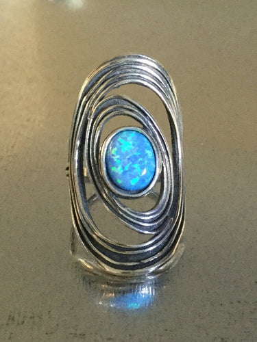 Synthetic Fire Blue Opal Shield Ring.