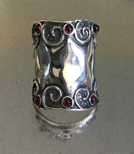 Studded gem stone Sterling Silver Shield Ring