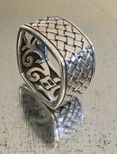 Men's Square Sterling Silver Woven detail Ring