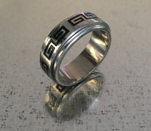 Men's Stainless Steel Spinner Ring Silver with Black Coil design