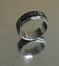 Men's Stainless Steel Spinner Ring Black with Silver Coil design.