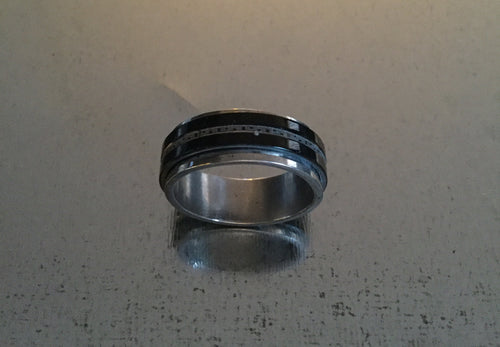 Men's Stainless Steel Spinner Ring Black with narrow Stipe design