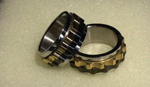 Men's Stainless Steel Spinner Ring Two Tone Black and Gold