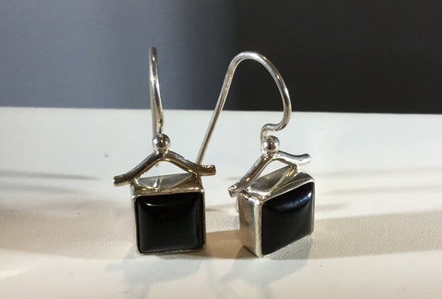 Square Onyx Shepard Hook Earring