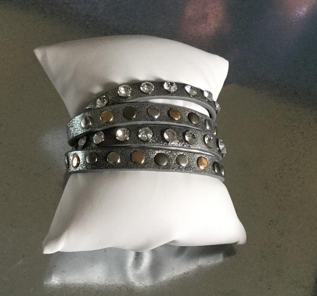 Leather Silver Wrap Bracelet