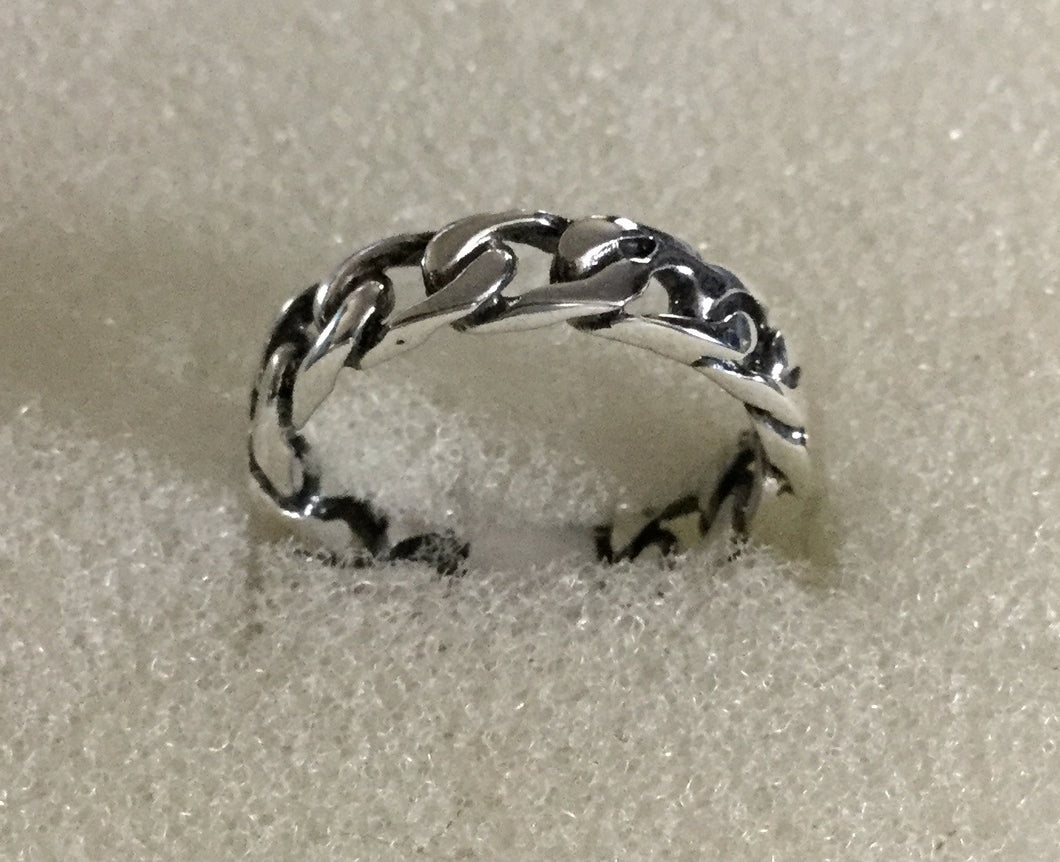 Narrow Sterling Silver Chain link Ring