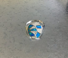 Synthetic Blue Oval Opal Silver Ring