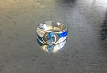 Aquamarine stone with Synthetic Blue Opal silver ring