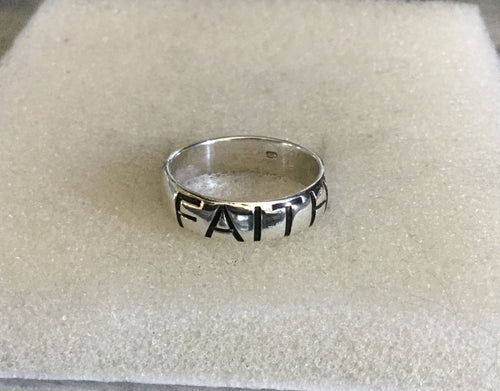 Wide Faith Sterling Silver Band